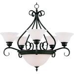 "Pacific Collection 7-Light 28"" Kentucky Bronze Chandelier with Marble Glass 2656MRKB"