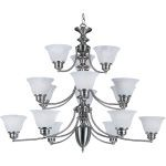 "Malibu Collection 15-Light 30"" Satin Nickel Chandelier with Marble Glass 2683MRSN"