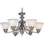 "Malibu Collection 6-Light 14"" Satin Nickel Chandelier with Marble Glass 2684MRSN"