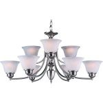 "Malibu Collection 9-Light 16"" Satin Nickel Chandelier with Marble Glass 2685MRSN"