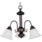 "Malibu Collection 3-Light 15"" Oil Rubbed Bronze Mini Chandelier with Marble Glass 2697MROI"