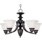 "Malibu Collection 5-Light 16"" Oil Rubbed Bronze Chandelier with Marble Glass 2699MROI"