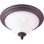 "Canyon Rim Collection 2-Light 13"" Canyon Rock Flush Mount with Soft Vanilla Glass 2750SVCR"