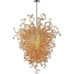 "Taurus Collection 18-Light 53"" Polished Chrome Chandelier with Cognac Glass 39736COPC"