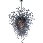 "Taurus Collection 18-Light 53"" Polished Chrome Chandelier with Fume Glass 39736FMPC"