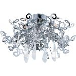 "Tempest Collection 5-Light 24"" Polished Nickel Flush Mount with Clear Glass 39841PN/CRY150"