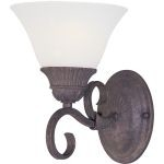 "Canyon Rim Collection 1-Light 6"" Canyon Rock Wall Sconce with Soft Vanilla Glass 8030SVCR"