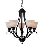 "Linda Collection 5-Light 27"" Oil Rubbed Bronze Chandelier with Wilshire Glass 85805WSOI"