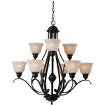 "Linda Collection 9-Light 34"" Oil Rubbed Bronze Chandelier with Wilshire Glass 85806WSOI"