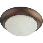 "Flair Collection 2-Light 14"" Oil Rubbed Bronze Flush Mount with Marble Glass 87951MROI"