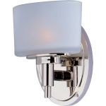 "Lola Collection 1-Light 5"" Polished Nickel Vanity with Satin White Glass 9021SWPN"