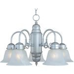 "Builder Basics Collection 5-Light 14"" Satin Nickel Chandelier with Marble Glass 91197MRSN"