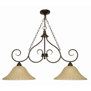 "Moulan Collection 2-Light 27"" Copper Bronze Chandelier with Champagne Washed Linen Glass 60-019"