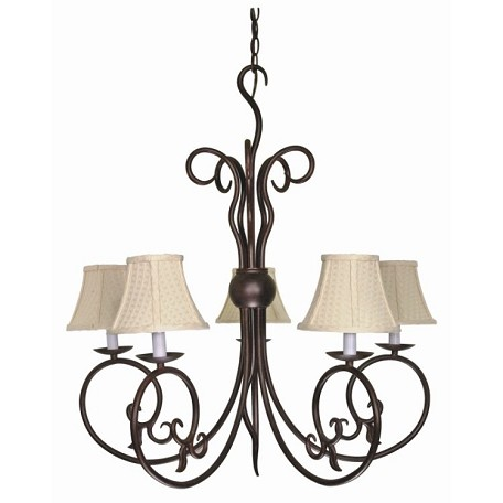 "Tapas Collection 5-Light 30"" Old Bronze Chandelier with Linen Waffle Shades 60-040"