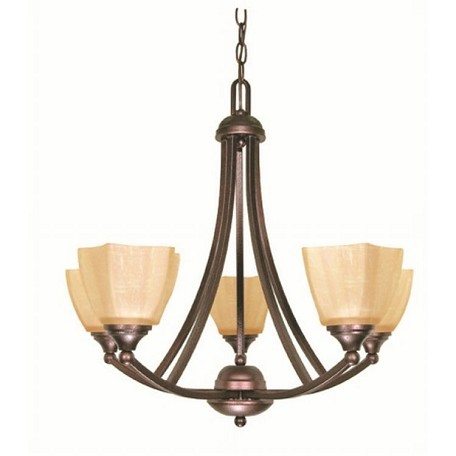 "Normandy Collection 5-Light 23"" Copper Bronze Chandelier with Champagne Washed Linen Glass 60-055"