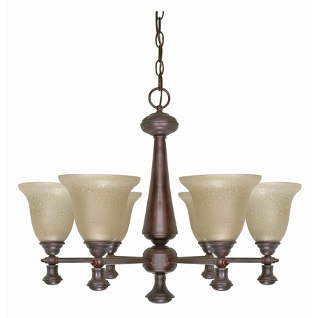 "Mericana Collection 6-Light 19"" Old Bronze Chandelier with Amber Water Glass 60-100"