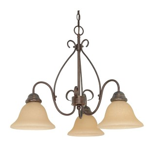 "Castillo Collection 3-Light 20"" Sonoma Bronze Chandelier with Champagne Washed Linen Glass 60-1021"
