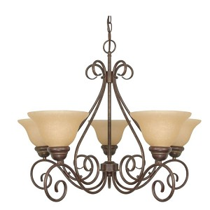 "Castillo Collection 5-Light 21"" Sonoma Bronze Chandelier with Champagne Washed Linen Glass 60-1023"