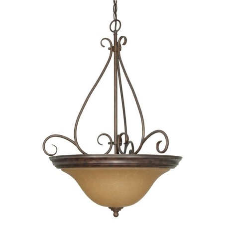 "Castillo Collection 3-Light 28"" Sonoma Bronze Pendant with Champagne Washed Linen Glass 60-1028"