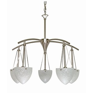"South Beach Collection 5-Light 23"" Brushed Nickel Chandelier with Water Spot Glass 60-130"