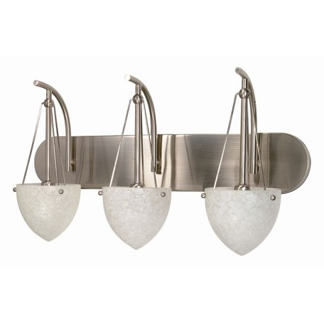"South Beach Collection 3-Light 24"" Brushed Nickel Vanity with Water Spot Glass 60-136"
