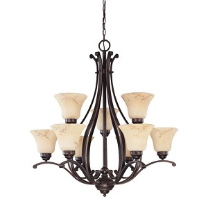 "Anastasia Collection 9-Light 34"" Copper Espresso Chandelier with Honey Marble Glass 60-1403"