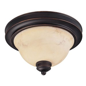"Anastasia Collection 2-Light 7"" Copper Espresso Flush Mount with Honey Marble Glass 60-1407"