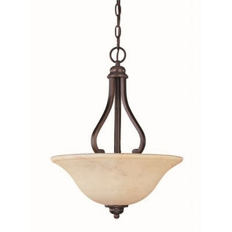 "Anastasia Collection 3-Light 20"" Copper Espresso Pendant with Honey Marble Glass 60-1409"