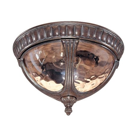 "Beaumont Collection 2-Light 8"" Fruitwood Outdoor Ceiling Light with Amber Water Glass 60-2007"