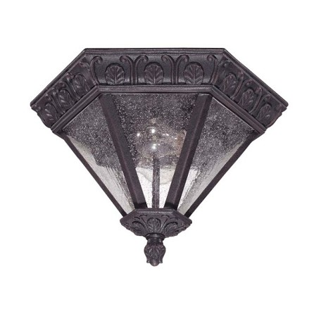 "Cortland Collection 2-Light 8"" Satin Iron ore Outdoor Ceiling Light with Seeded Mist Glass 60-2037"