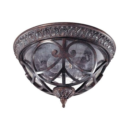 "Aston Collection 2-Light 9"" Dark Plum Bronze Outdoor Ceiling Light with Clear Seeded Glass 60-2057"