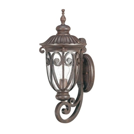 "Corniche Collection 1-Light 9"" Burlwood Outdoor Wall Light with Clear Seeded Glass 60-2063"
