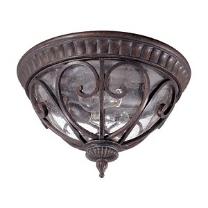 "Corniche Collection 2-Light 8"" Burlwood Outdoor Ceiling Light with Clear Seeded Glass 60-2067"