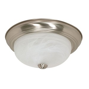 "Nuvo Collection 2-Light 5"" Brushed Nickel Flush Mount with Alabaster Glass 60-2622"