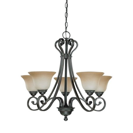 "Montgomery Collection 5-Light 24"" Sudbury Bronze Chandelier with Champagne Linen Glass 60-2742"