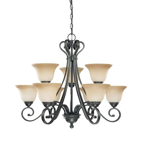 "Montgomery Collection 9-Light 25"" Sudbury Bronze Chandelier with Champagne Linen Glass 60-2744"