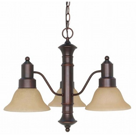 "Gotham Collection 3-Light 17"" Mahogany Bronze Chandelier with Champagne Washed Linen Glass 60-3104"