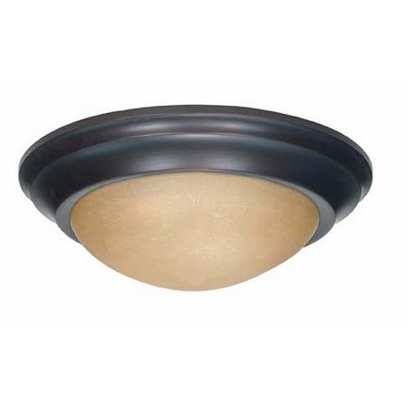 "Nuvo Collection 2-Light 5"" Mahogany Bronze Flush Mount with Champagne Washed Linen Glass 60-3136"