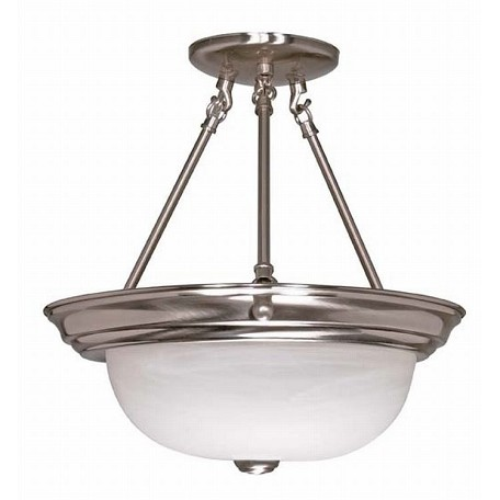 "Nuvo Collection 3-Light 15"" Brushed Nickel Semi-Flush Mount with Alabaster Glass 60-3186"