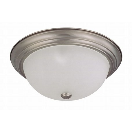 "Nuvo Collection 3-Light 6"" Brushed Nickel Flush Mount with Frosted White Glass 60-3263"