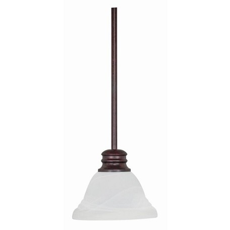 "Empire Collection 1-Light 51"" Old Bronze Mini Pendant with Alabaster Swirl Glass 60-366"