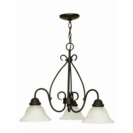 "Castillo Collection 3-Light 20"" Textured Black Chandelier with Alabaster Swirl Glass 60-378"