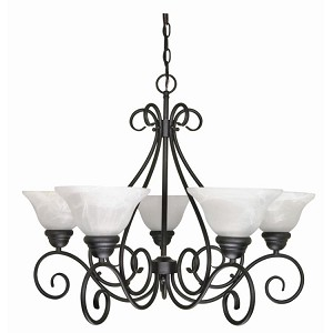 "Castillo Collection 5-Light 21"" Textured Black Chandelier with Alabaster Swirl Glass 60-380"