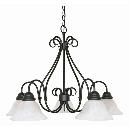 "Castillo Collection 5-Light 21"" Textured Black Chandelier with Alabaster Swirl Glass 60-381"