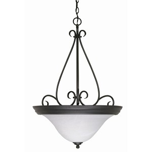 "Castillo Collection 3-Light 28"" Textured Black Pendant with Alabaster Swirl Glass 60-385"