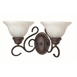 "Castillo Collection 2-Light 9"" Textured Black Vanity with Alabaster Swirl Glass 60-388"