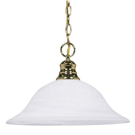"Nuvo Collection 1-Light 11"" Polished Brass Pendant with Alabaster Glass 60-392"