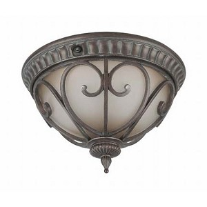 "Corniche Collection 2-Light 8"" Burlwood Outdoor Ceiling Light with Clear Seeded Glass 60-3927"