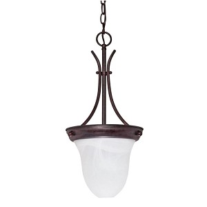 "Nuvo Collection 1-Light 20"" Old Bronze Pendant with Alabaster Bell Glass 60-395"
