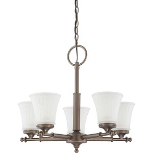 "Teller Collection 5-Light 19"" Aged Pewter Chandelier with Frosted Etched Glass 60-4015"